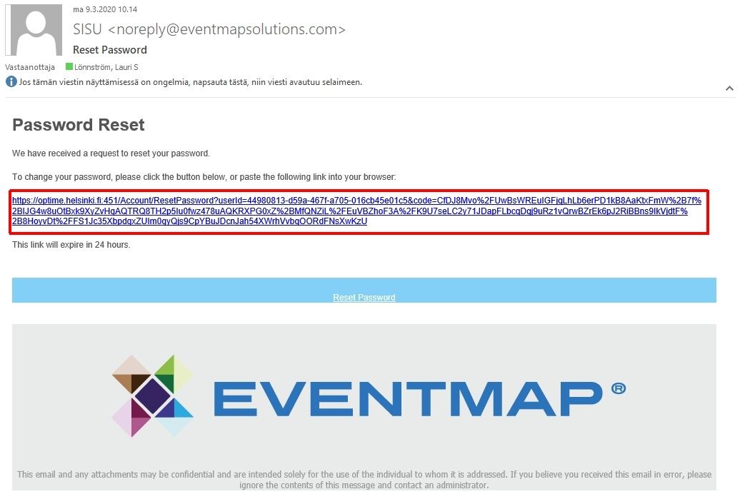 Kuva, jossa näkyy malli saapuvasta sähköpostista.