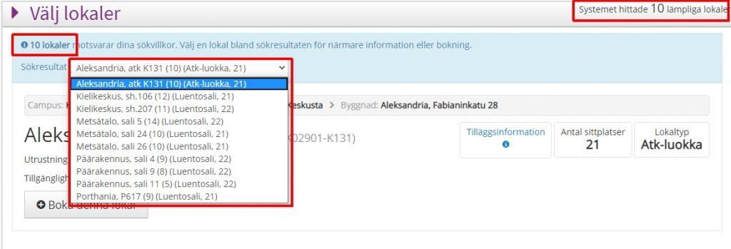 Bilden visar när du hittar antal och listan av lokaler under Välj lokaler -del.