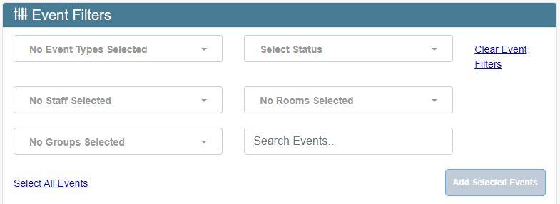 Kuvassa näkyy Transfer-sivun Event Filters -osan hakutoiminnot