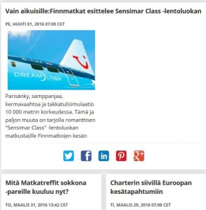 Finnmatkojen medialle suunnatussa Uutishuoneessa kerrotaan muun muassa Matkatreffit sokkona -parien kuulumisista ja romanttisesta, vain aikuisille tarkoitetusta lentoluokasta.