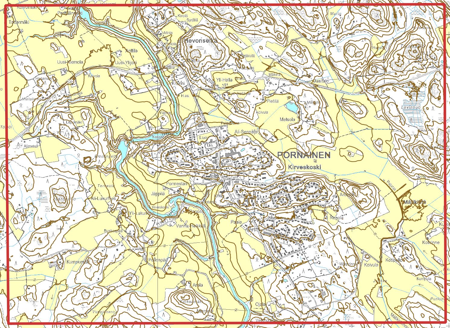Kuva 5. QGIS:ssa tehdyt korkeuskäyrät
