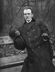 German writer Gerhart Hauptmann (1862 - 1946) sitting on a park bench.   (Photo by Hulton Archive/Getty Images)