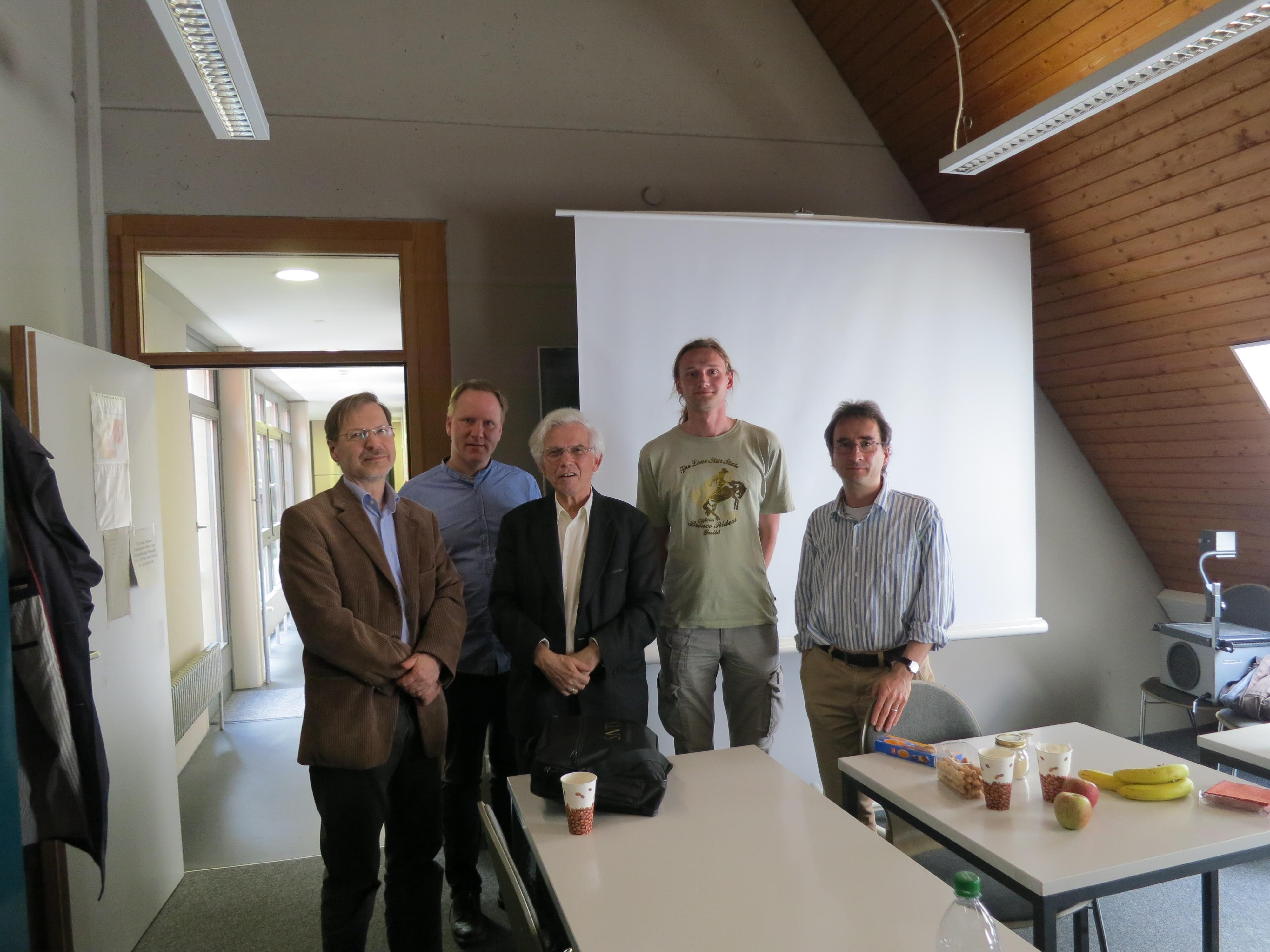 Risto Uro (left), Rikard Roitto, Gerd Theissen, Vojtech Kase and Istvan Czachesz