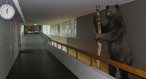 C-talon aula: käytäviä ja ylämäkeä