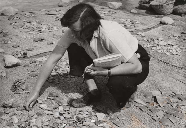Kathleen Kenyon working on material from Jericho, where she excavated from 1952-58. (Reynolds, A 2011. From the Archives. Archaeology International 13:112-118, DOI: http://dx.doi.org/10.5334/ai.1321 )
