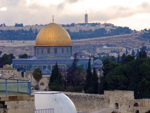 Photo 1. The Temple Mount in the foreground, the Mount Scopus campus of the Hebrew University in the background. (Photo: Herbert Chan)