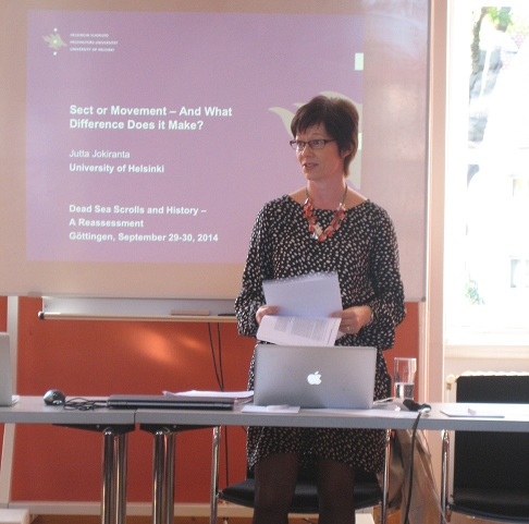 Dr. Jutta Jokiranta gave the first paper of the workshop, titled Sect or Movement — and What Difference Does it Make?
