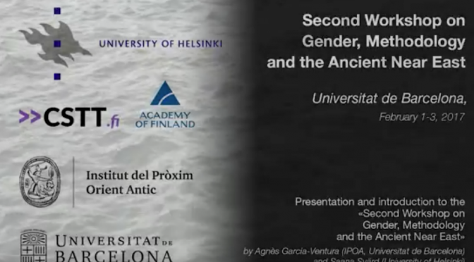 Video lectures of 2nd Workshop on Gender, Methodology and the Ancient Near East