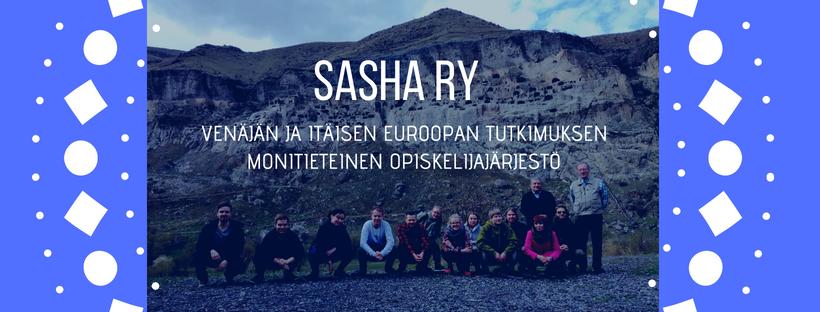 Ainejärjestö Sashan tunnuskuva, jossa järjestön jäseniä vuoristomaisemissa.