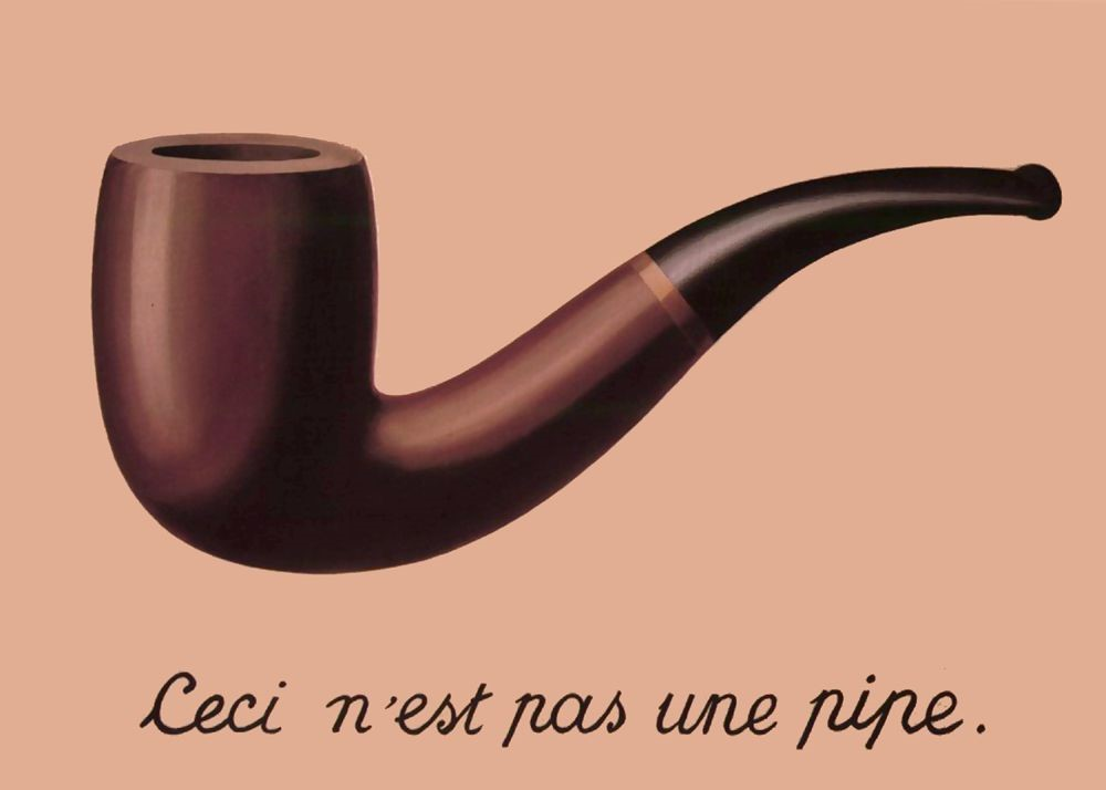 "Painting of a pipe. Under the painting, text in French that means ""This is not a pipe."""