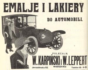 Ajan hengen mukainen autotarvikemainos 1910-luvun almanakassa.