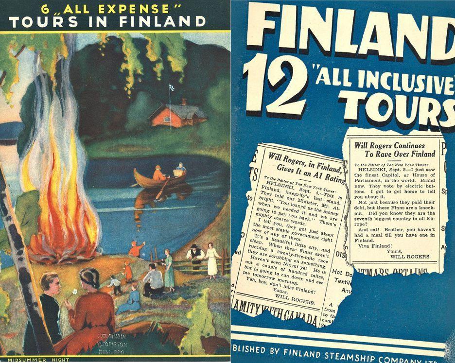 Suomen Höyrylaiva-Osakeyhtiön Suomi-esitteitä 1930-luvulta.