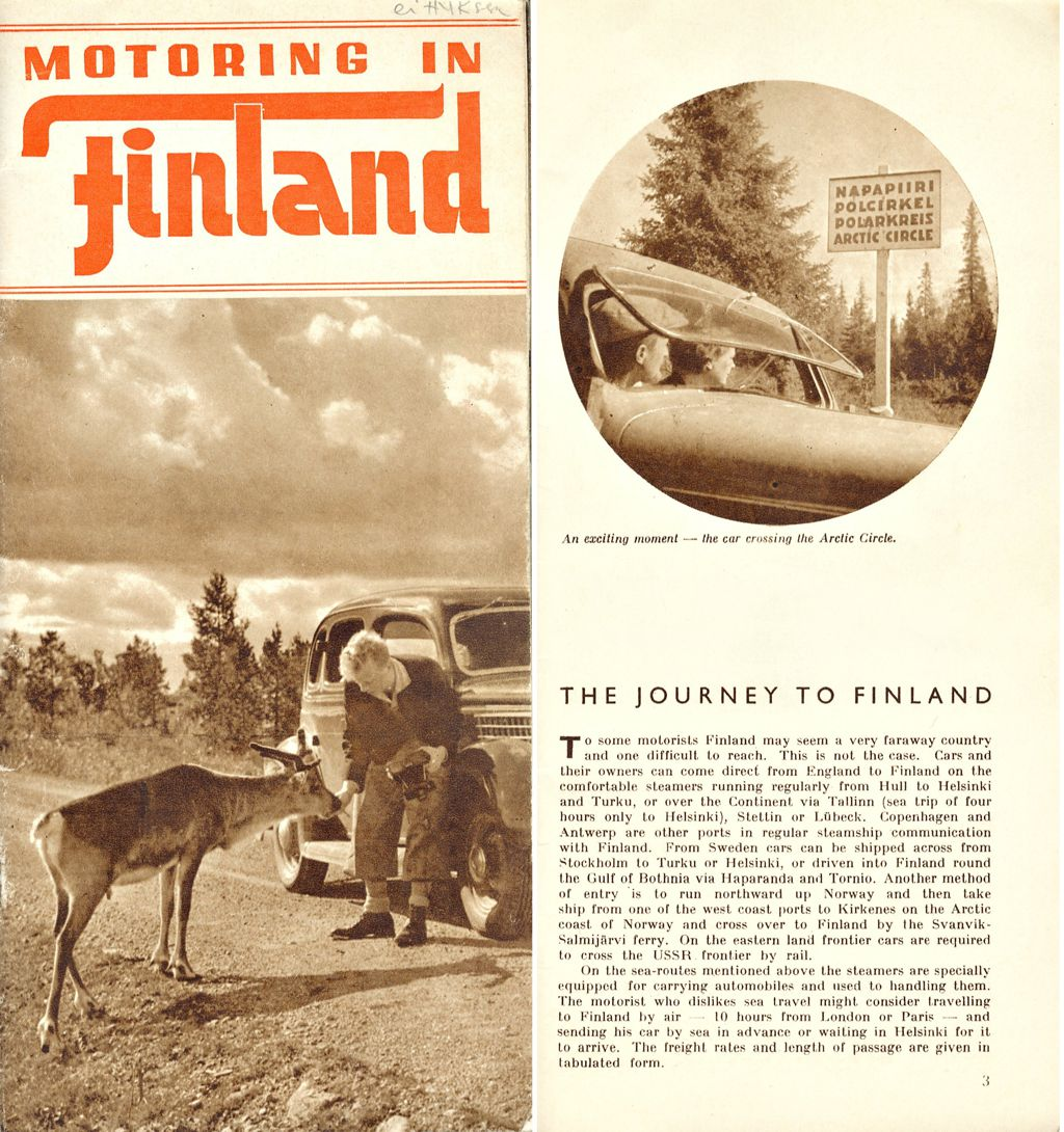 """Suomen-Matkojen esitteessä """"Motoring in Finland"""" noin vuodelta 1938 kuvaajina olivat Heikki Aho & Björn Soldan."""