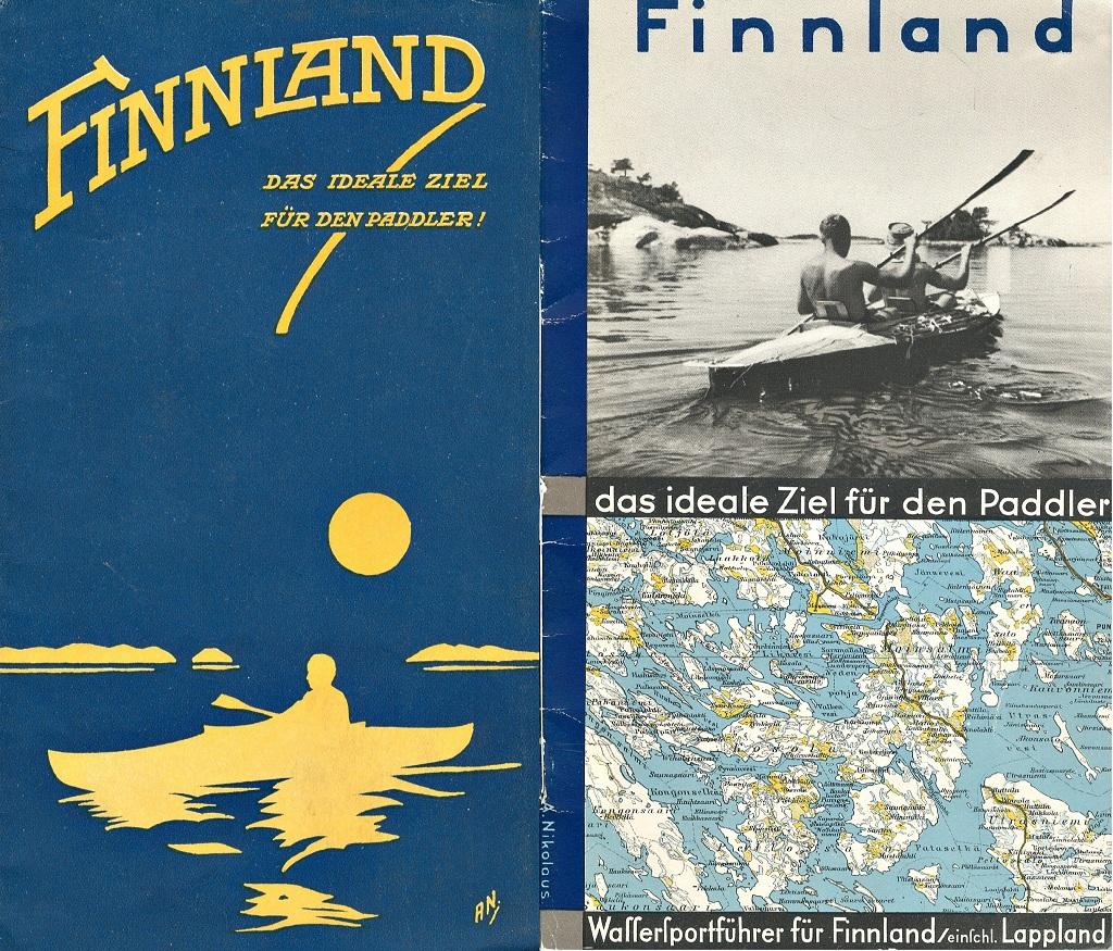 Suomea markkinoitiin amerikkalaisille ja saksalaisille melonnan paratiisina. SMY jopa painatti kartat parhaista kanoottiretkireiteistä. Melonta oli myös kätevästi yhdistettävissä 1930-luvulla muotiin tulleisiin campingiin sekä automatkailuun. Oikealla vuoden 1928 ja vasemmalla vuoden 1933 esite.