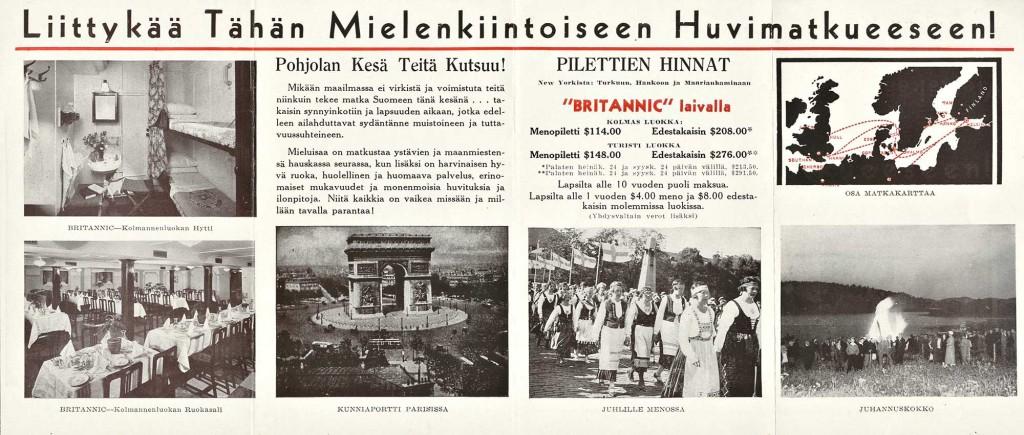Carl H. Salmisen mielenkiintoinen huvimatka Suomeen, Cunard White Star Line Yhdysvallat, 1939