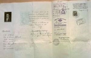 Lauri O. Th. Tudeerin matkustusasiakirja vuodelta 1929