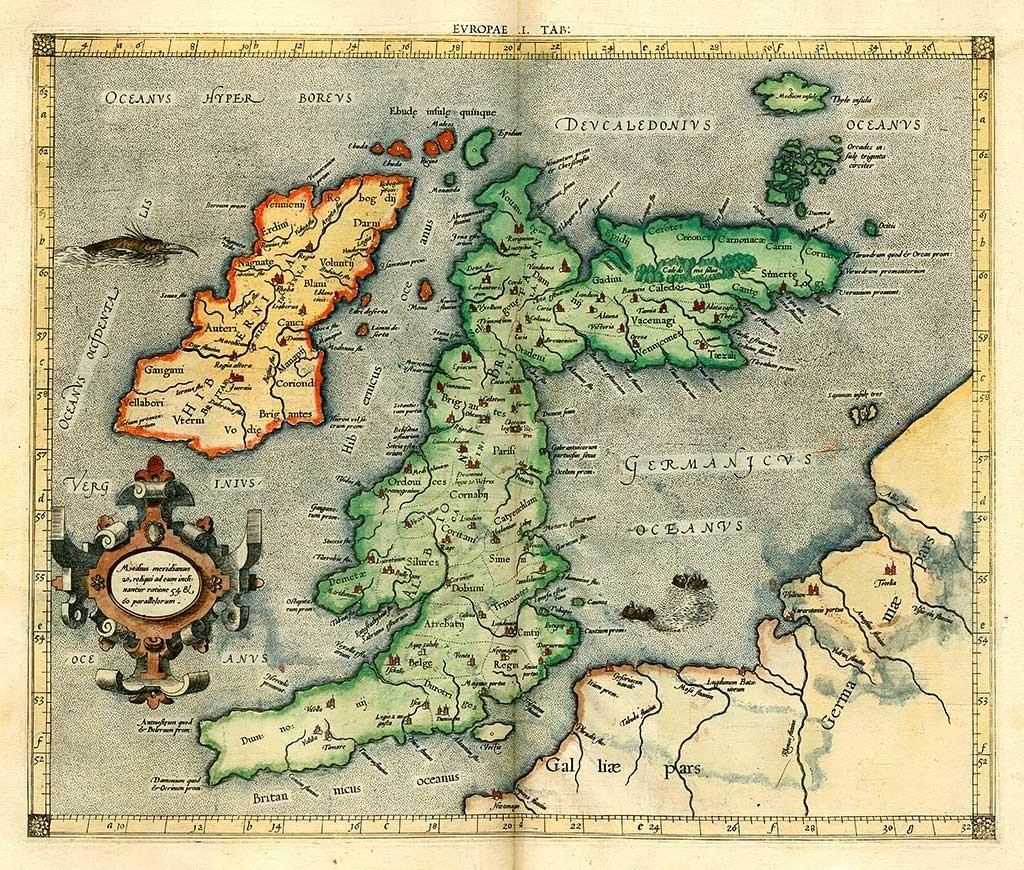 Albion, Britannica insula, Hibernia. Ptolemaios, Klaudios; Mylius, Arnold; Pirckheimer, Willibald (1584).