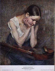 Helene Schjerfbeck, Katkennut kieli. Kuvalähde: Kirjapainotaito : graafillinen aikakauslehti no 12, 1925