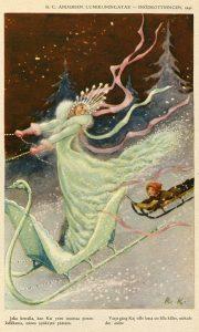 Rudolf Koivun kuvitusta H.C. Andersenin satuun Lumikuningatar.