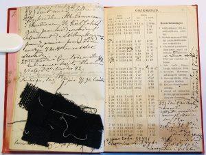 Aukeama Fanny Mechelin 1888 kalenterista, sivulle kiinnitetty kangastilkku.