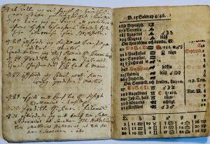 Aukeama kalenterista vuodelta 1809