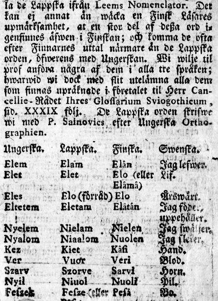 Porthanin huomioita unkarin-, saamen-, suomen- ja ruotsinkielisten sanojen samankaltaisuudesta.