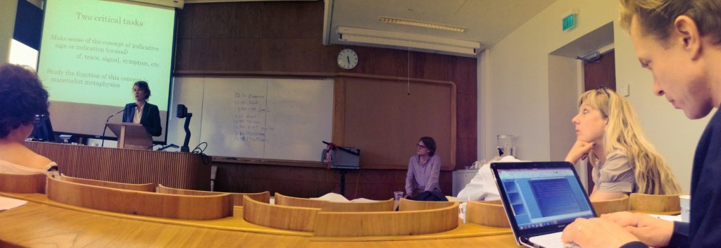 Sara Heinämaa delivering a talk at Materialities and Materialisms in Contemporary Thought, University of Helsinki, June 2013.