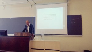 Professor Mika Ojakangas delivering a lecture at the Foucault Symposion organized by SHC, 28 June, 2013.