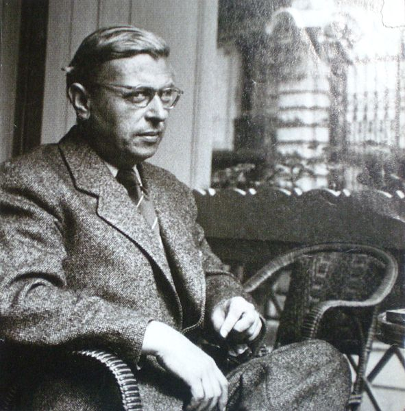 Sartre in a chair.