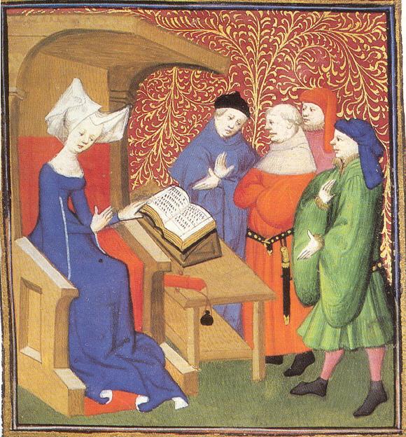 Christine de Pizan opettamassa miehiä