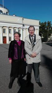 Bishop Irja Askola of Helsinki and Professor Risto Saarinen.