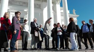 Participants of the consultation in front of the Helsinki Cathedral.