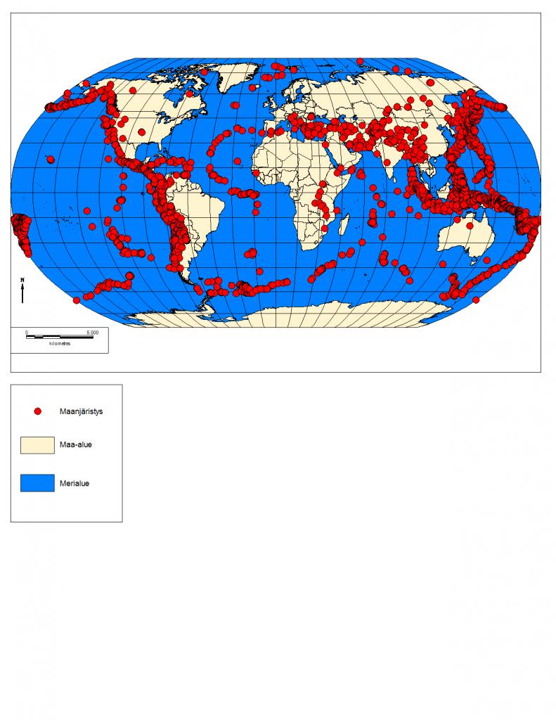 Kuva 1. >6 Richterin maanjäristykset 1980-