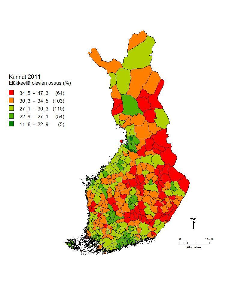 Kuva 2. Eläkeläisten osuus Suomessa kunnittain (Tilastokeskus 2010).