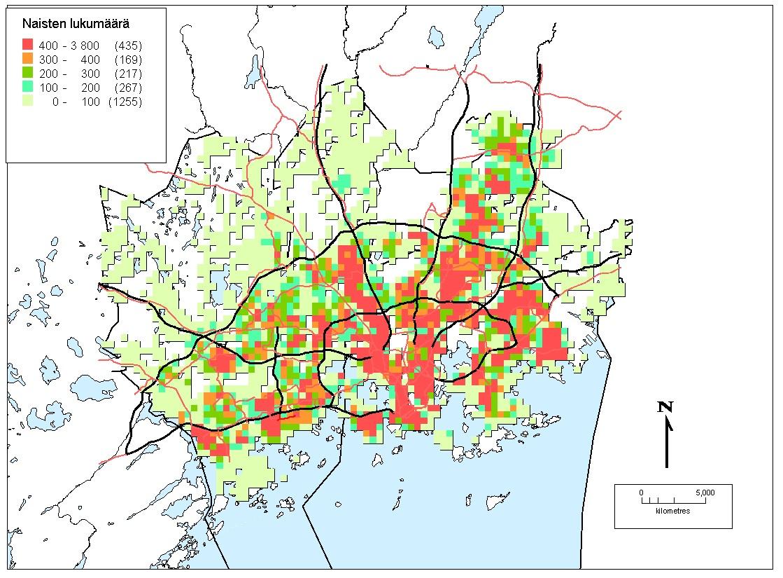 Kuva 2. Naisten määrä pääkaupunkiseudulla.