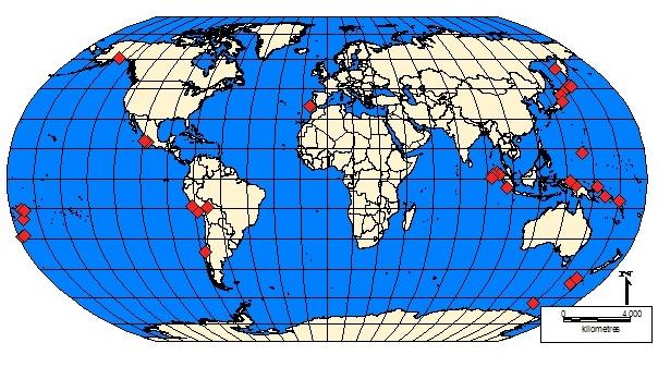 Kuva 6. Yli 8richterin maanjäristykset maailmalla, v.1964-