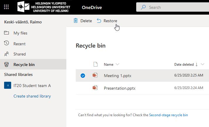 OneDrives egna papperskorg