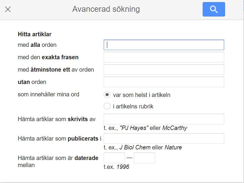 Google Scholars avancerade sökning, muspekaren är vid Hitta artiklar med alla orden