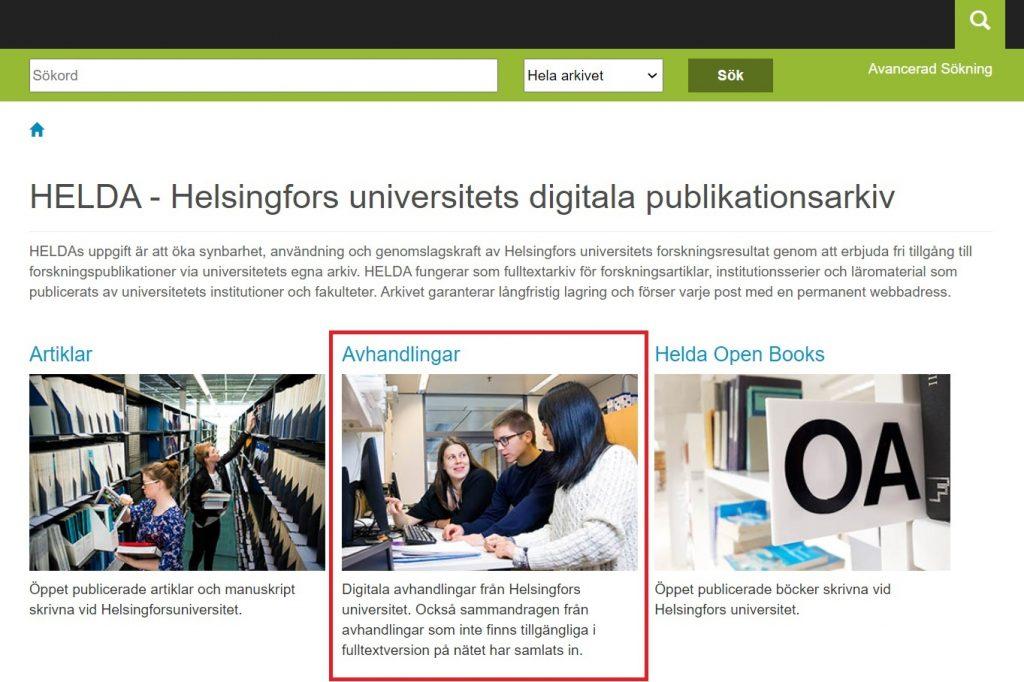 Låda och text inringat på Heldas startsida: Lärdomsprov och avhandlingar