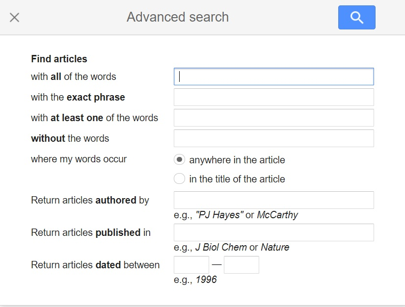 Google Scholar Advanced Search, mouse pointer on search for articles with all words