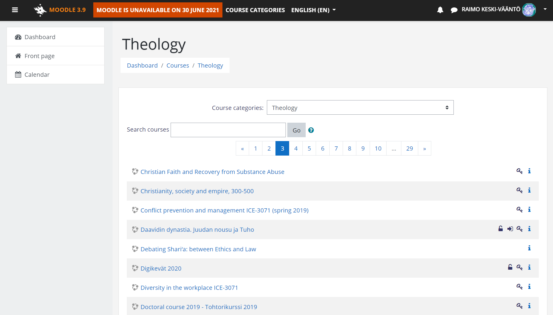 Picture: Moodle course search