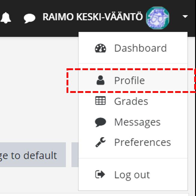 Picture: User name menu