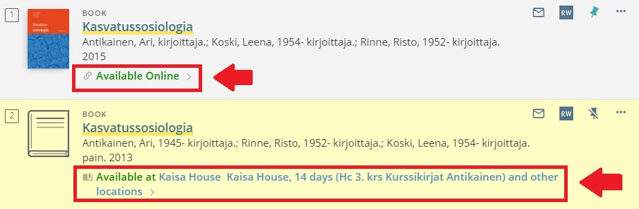 """details of two books, with """"Available Online"""" and """"Available at"""" circled"""