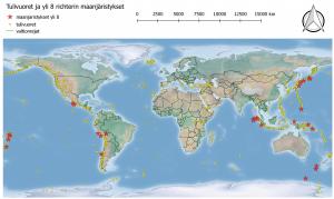 Maanjäristykset Kartalla