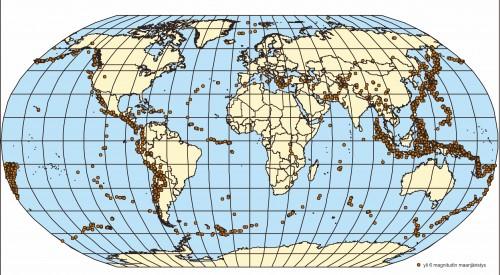 Kuva 1 : Vähintään voimakkaat maanjäristykset 2000-luvulla.