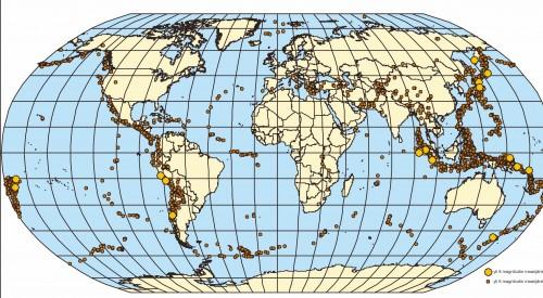 Kuva 2: Voimakkaat ja valtavat maanjäristykset 200-luvulla.