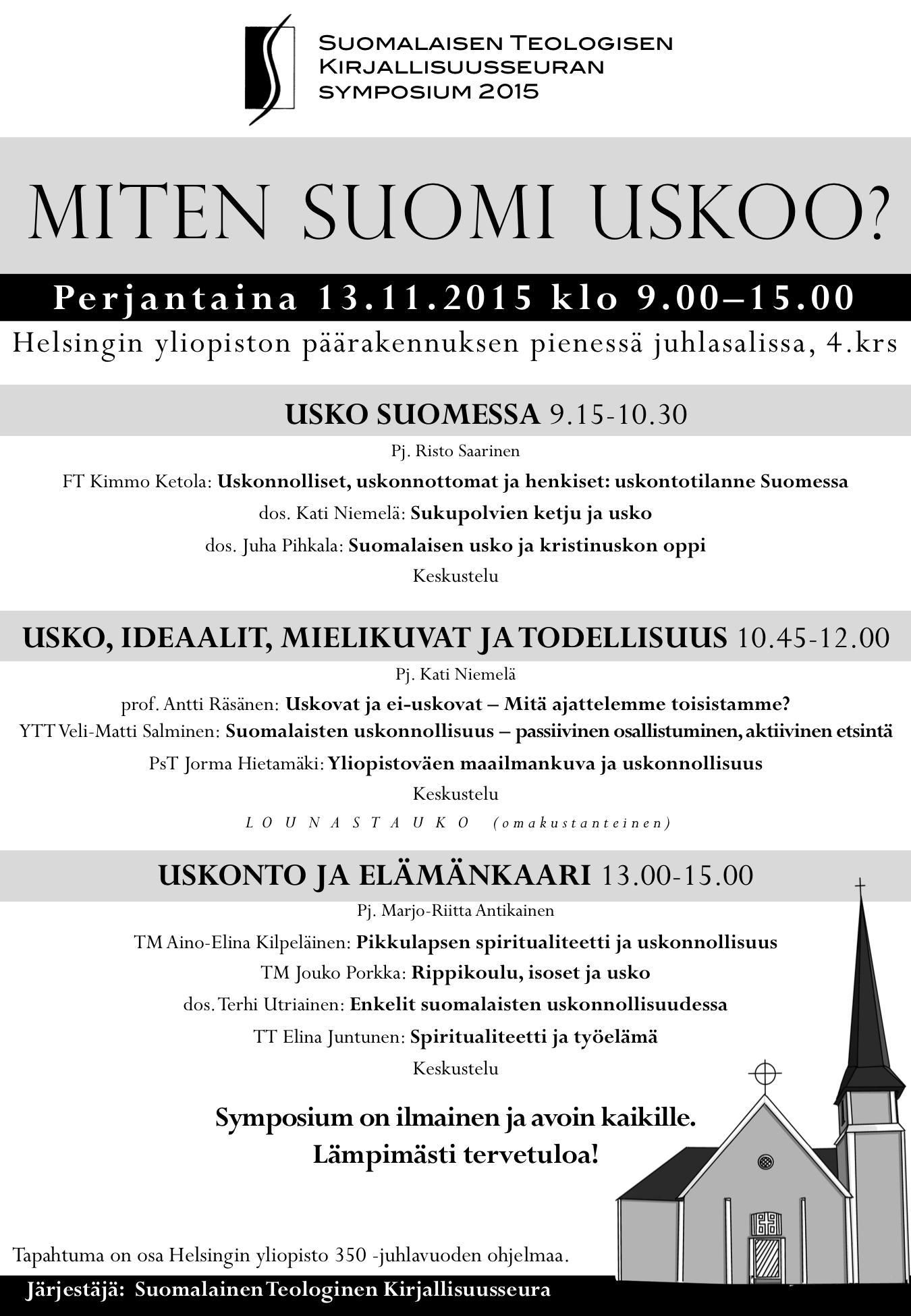 Suomalaisen Teologisen Kirjallisuusseuran symposium 2015