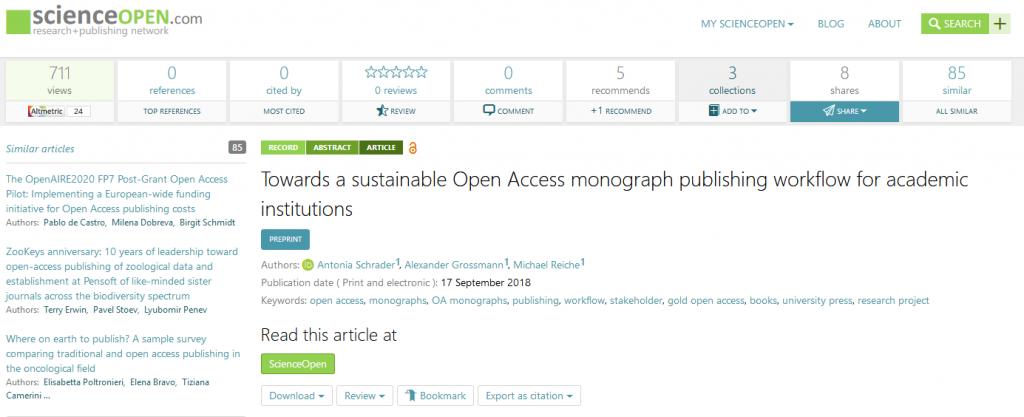 Näkymä Open Science-preprint-palvelusta