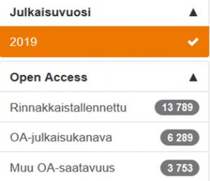 Juulin käyttöliittymän open access -fasetti