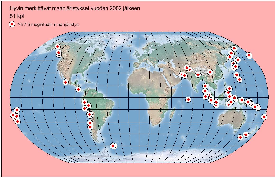 Kuva 2 Yli 7,5 magnitudin maanjäristykset